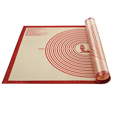 Non-slip Silicone Pastry Mat Extra Large with Measurements 36''By 24'' for Silicone Baking Mat, Counter Mat, Dough Rolling Mat,Oven Liner,Fondant/Pie Crust Mat(Red)