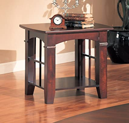 Superieur Coaster End Table, Cherry Finish