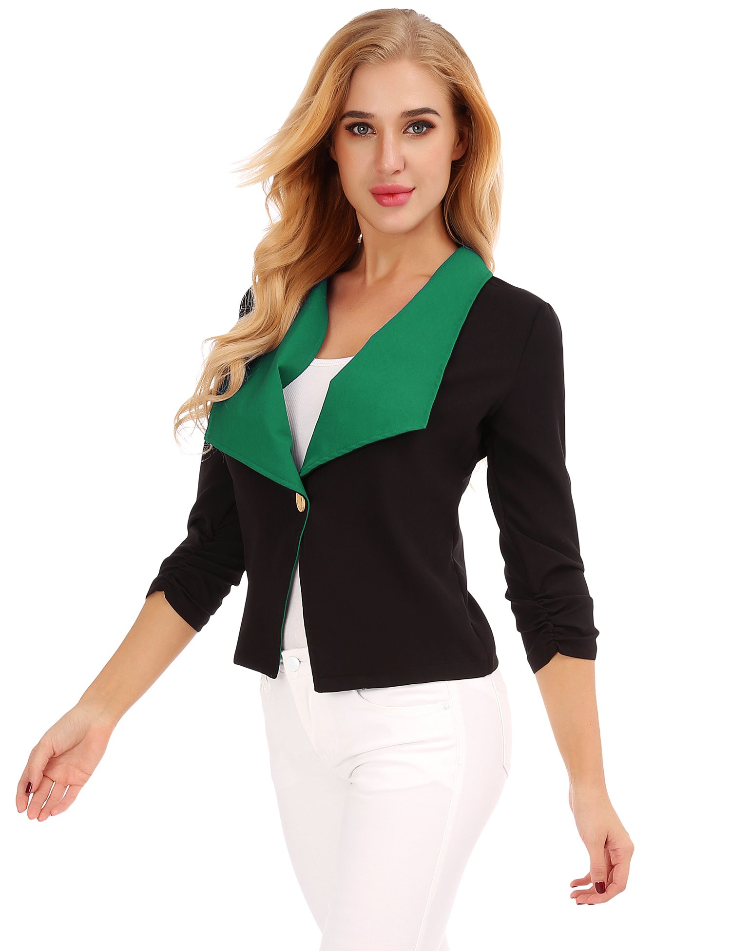 FISOUL Women Tops 3/4 Sleeves Mixed Color Casual Daily Open Front Blazer Jacket Green L