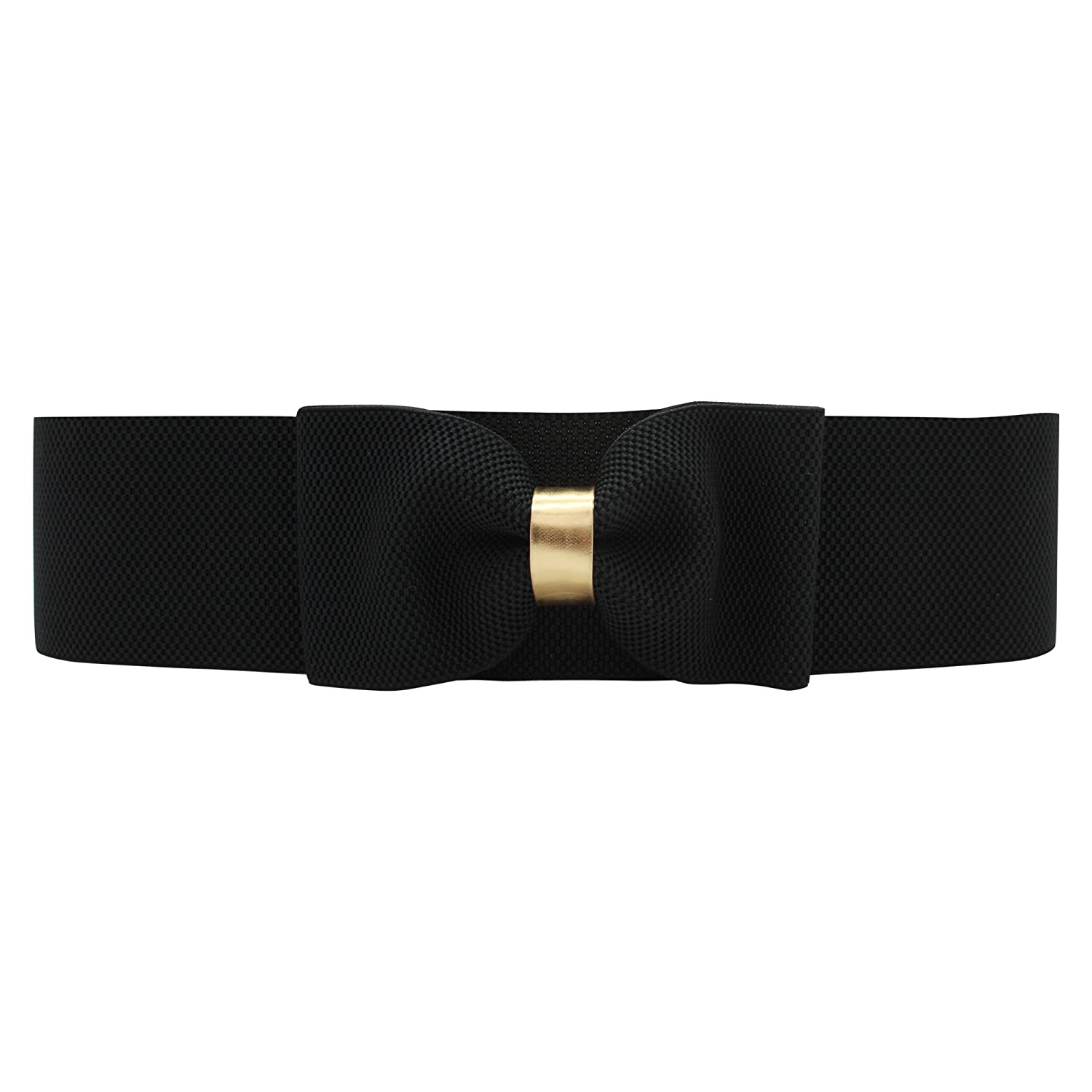 BlackButterfly 3 Inch Elastic Bow Waist Belt (Black, US 10-12)