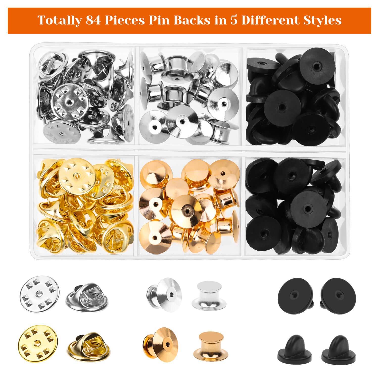 Lapel Pins Brooch Pins and Hat Pins Enamel Pins Assorted Styles Selizo 84pcs Locking Pin Backs Lapel Push Pin Keeper Blank Pin Locks for Disney Pins Pin Backs