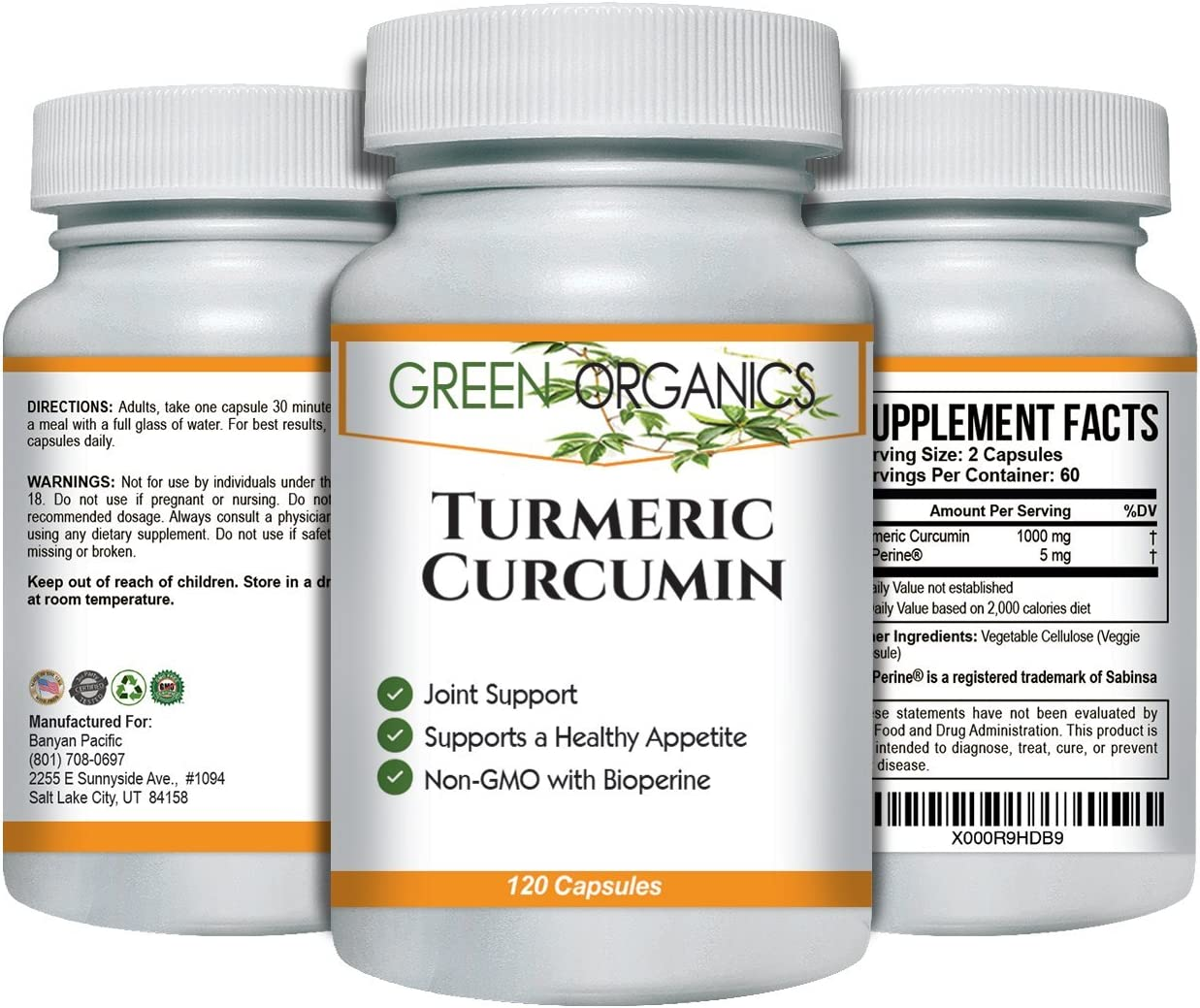 Turmeric Curcumin to Support Joint Comfort Mobility Natural Anti-inflammatory Helps Soothe Aching Joints, Hips, and Pain Throughout Body 1000mg 120 Capsules