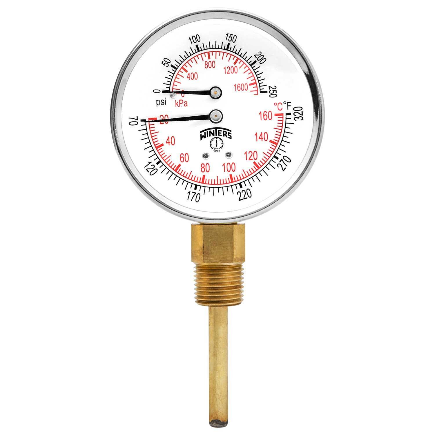 Winters TTD Series Steel Dual Scale Tridicator Thermometer with 2'' Stem, 0-250psi/kpa, 3'' Dial Display, ±3-2-3% Accuracy, 1/2'' NPT Bottom Mount, 70-320 Deg F/C