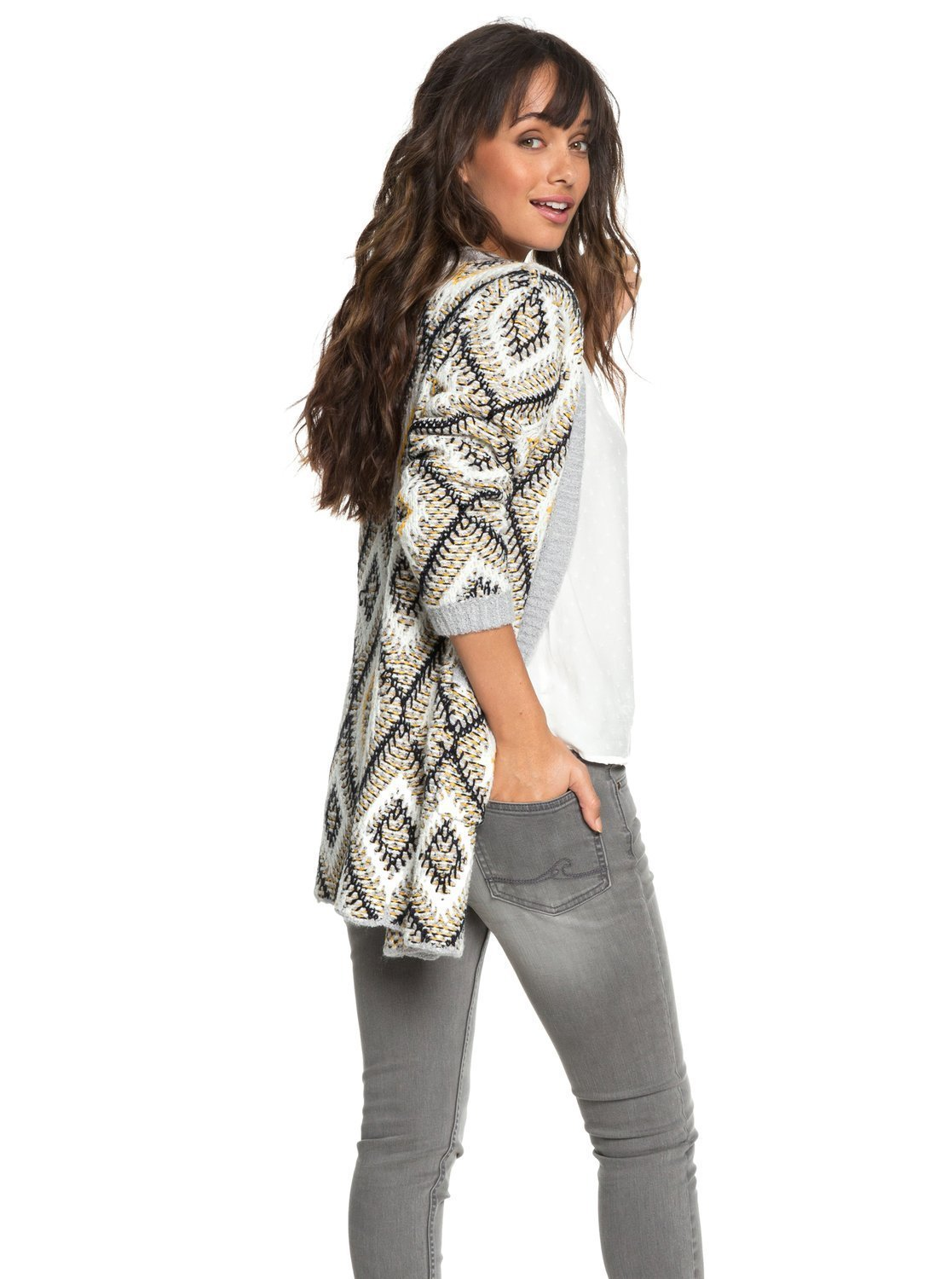 Roxy Junior's All Over Again Cardigan Sweater, Heritage Heather, L