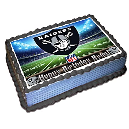 Oakland Raiders Nfl Personalized Cake Topper Icing Sugar Paper 1 4 8 5 X 11 5 Inches Sheet Edible Frosting Photo Birthday Cake Topper Amazon Com Grocery Gourmet Food