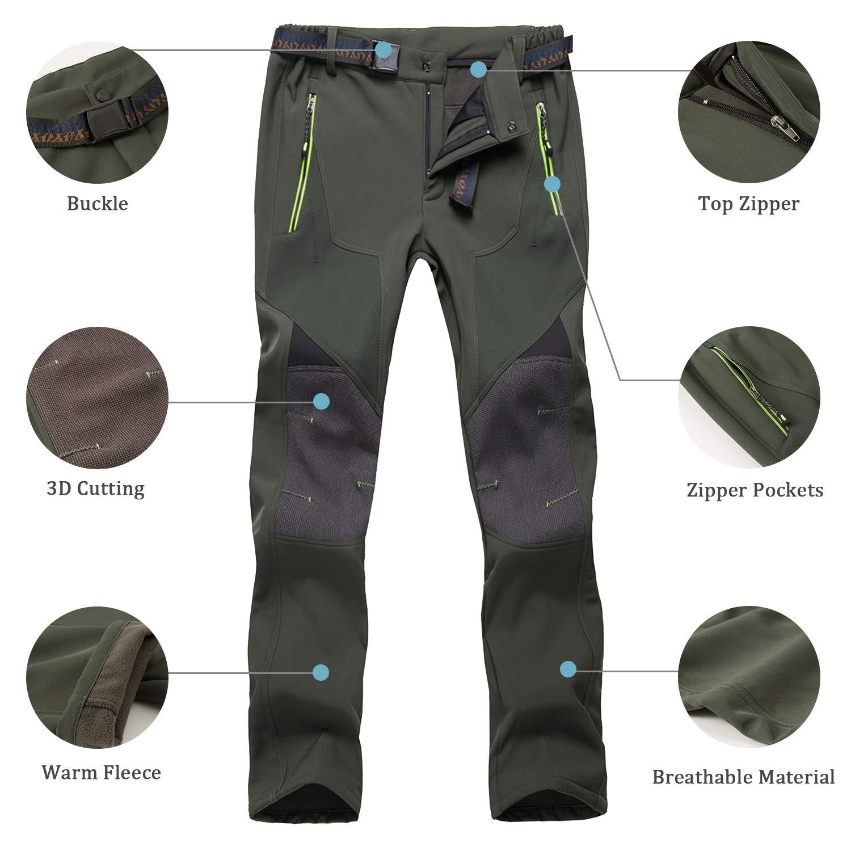 LHHMZ Uomo Pantaloni da Trekking Foderati in Pile Impermeabile Antivento Pantaloni da Arrampicata per Sport allAria Aperta Pantaloni Invernali da Passeggio