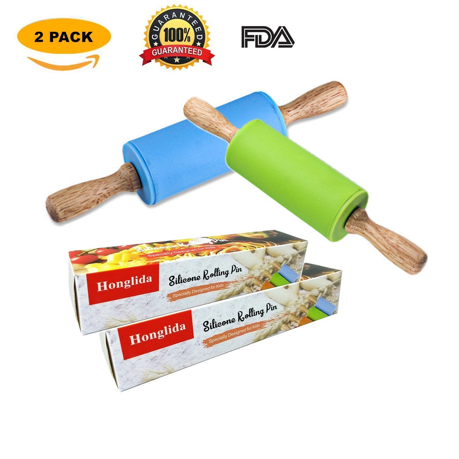 Honglida 9 Inch Silicone Rolling Pin for Kids, Non-stick Surface and Comfortable Wood Handles(Pack of 2) by HONGLIDA (Image #7)