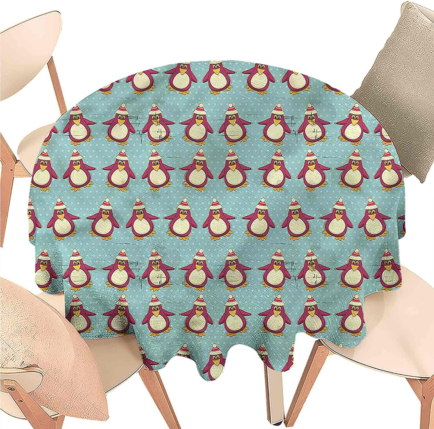Linhomedecor Round Tablecloth Christmas,Funny Arctic Penguins,Indoor Outdoor Spillproof Tablecloth Table Cover for Spring Summer Patio Garden Tabletop Decor Diameter 60 inch