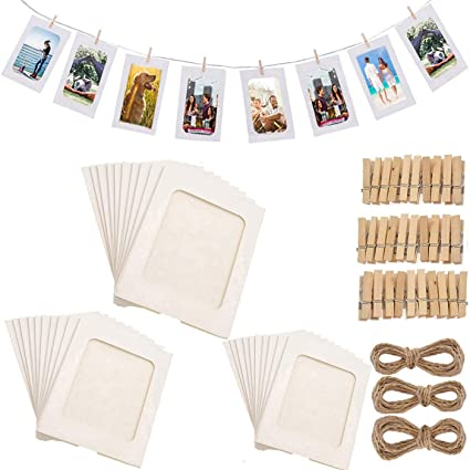 Fashion Hw 30pack Paper Photo Frames 10x15 Cm Paper Picture Frame With Wooden Clips And String Hanging Cardboard 4x6 Photo Frame Set For Home Wall Decor White Amazon Co Uk Kitchen Home