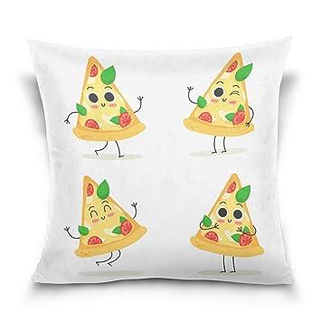 ALAZA Emoji de Pizza Cuadrada Linda Doodle Tiro Velvet Cojín ...