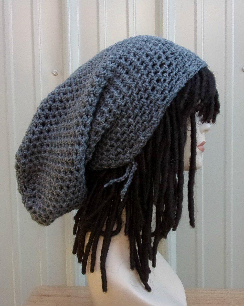07cb1ede2 Handmade black or gray super long dread tam, tam beanie, extreme slouchy  beanie, dreadlock sock tam, rasta hat