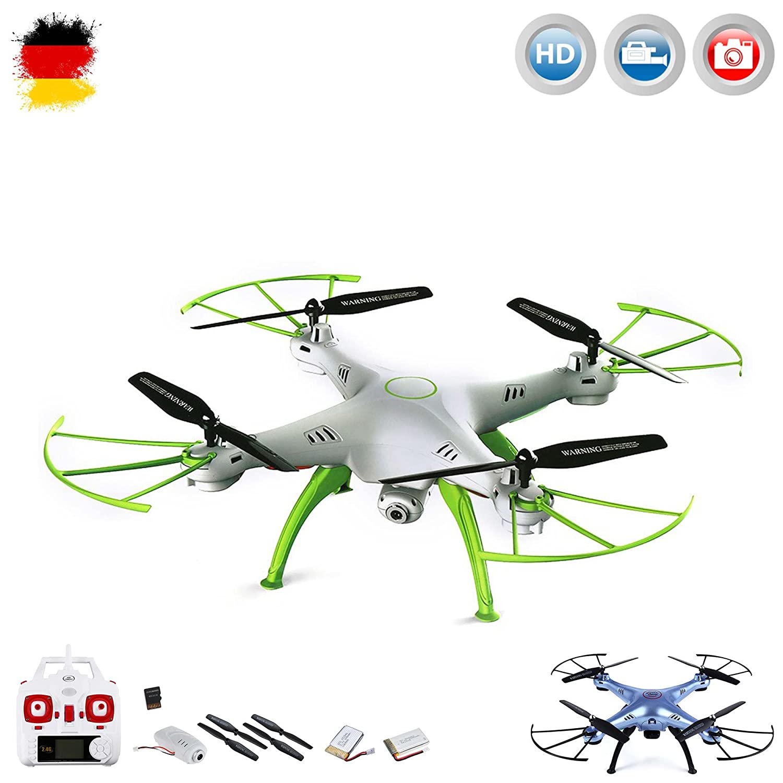 X5HC PRO-Edition - 4.5-Kanal ferngesteuerter Quadrocopter 3D Drohne mit HD-Kamera optional mit WIFI Live-Übertragung-Set erweiterbar, Höhenbarometer,Headless, 6-axis Gyro und vieles mehr, Mega-Set Crash-Kit und POWER UPGRADE ERSATZAKKU mit 3,7V