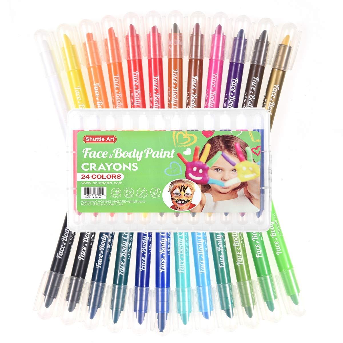 Face Paint Kit for Kids,Shuttle Art 24 Colors Face Painting Party Set Body Paint Kit Non-Toxic Body Face Painting Set