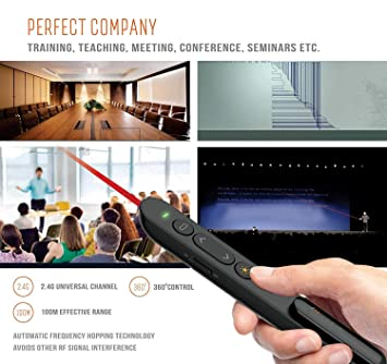 Brand Conquer Beam: Wireless Laser Presenter Pen PowerPoint Presentation  Remote PPT Slide Presentation Control Pen Laser Pointer with Clip (Black)