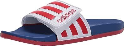 adidas Boys' Adilette Comfort Adj Slide Sandal, White, 13 M US