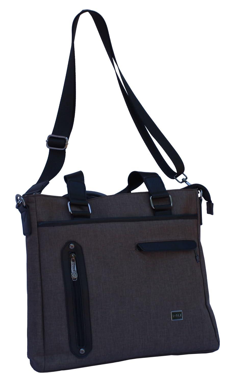 V PAX 15 inch Durable Water Resistant Microfiber Polyester Laptop Shoulder Bag with Adjustable Shoulder Strap Brown
