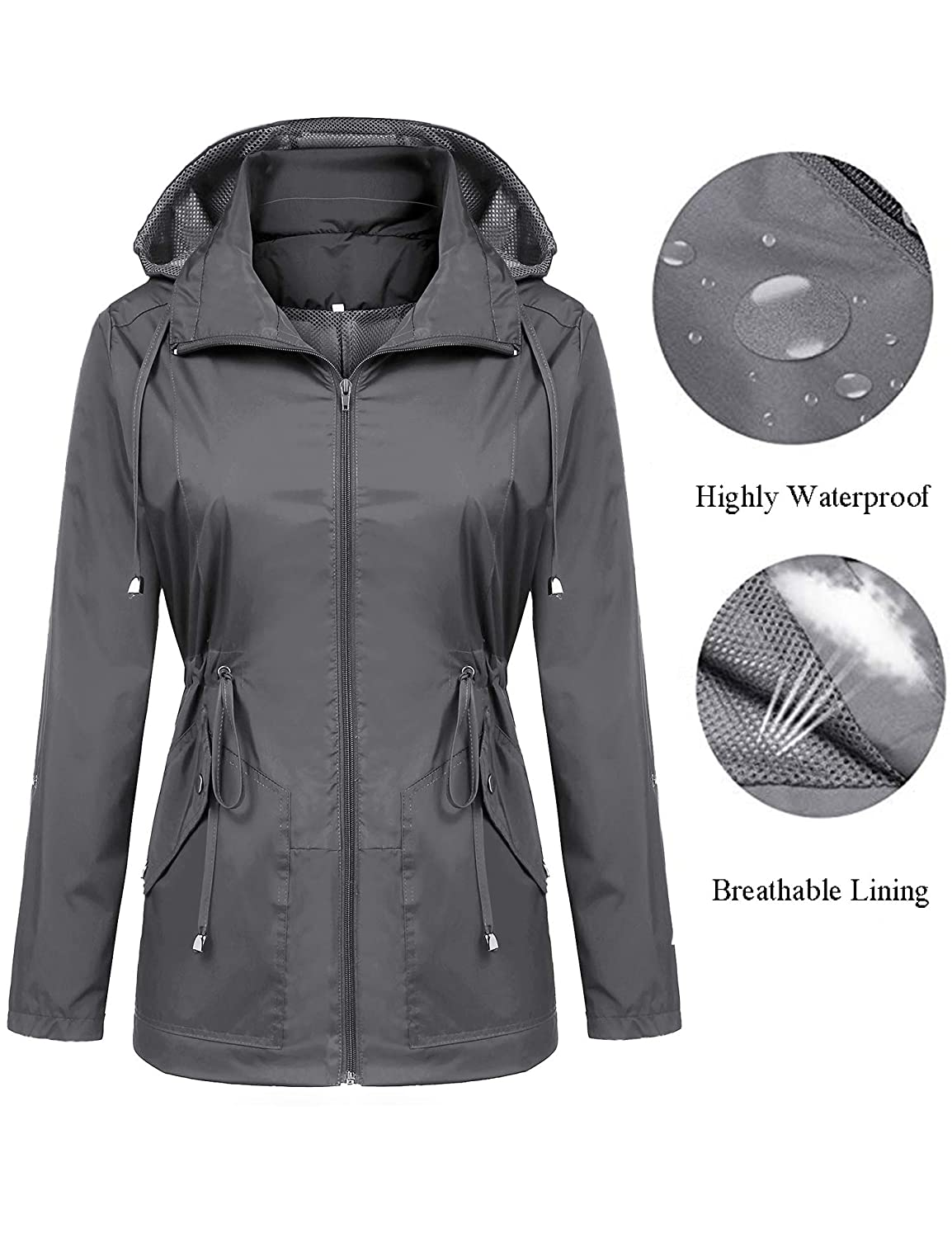 Doreyi Women Rain Jackets Waterproof Lightweight Raincoat with Hood Breathable Lining for Active Hiking Travel