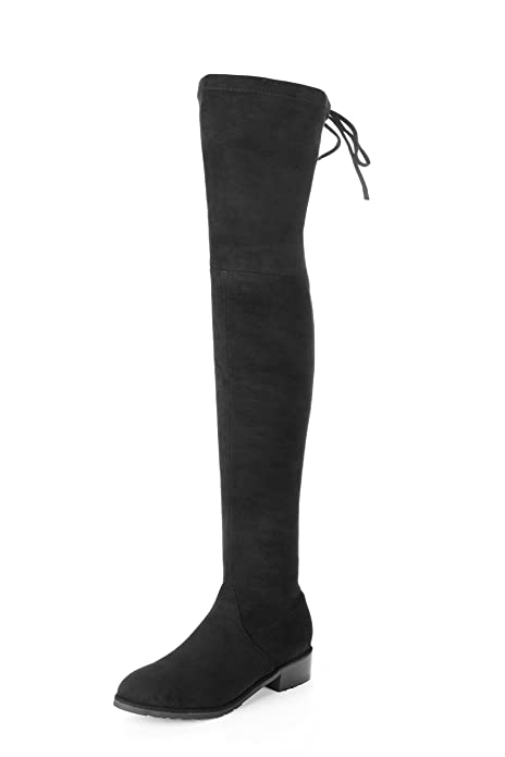 917f95ebd8 MIUINCY Black Brown Over The Knee Boots Flat for Women High Stretchy Faux  Suede Drawstring Block