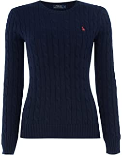 c78acb01eccfaf Ralph Lauren Polo Women's Cable Knit Crew Neck Jumper Navy Cream (Large,  Navy)