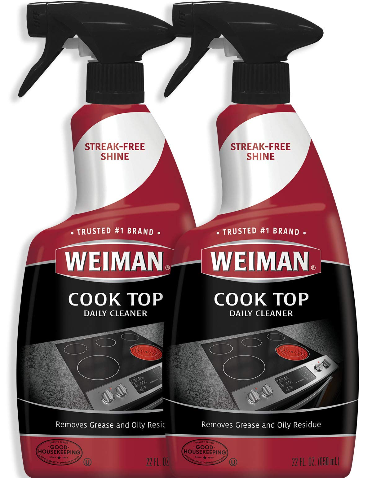 Weiman Cooktop Cleaner for Daily Use (2 Pack) Streak Free, Residue Free, Non-Abrasive Formula - 22 Ounce by Weiman