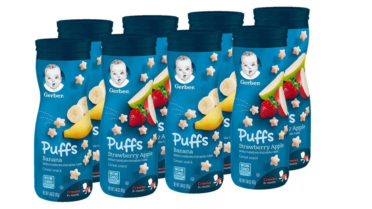 Gerber Puffs Cereal Snack, Banana & Strawberry Apple, 8 Count by Gerber