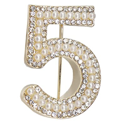 kockuu Fashion Gold Tone Pin Badge with Imitation Pearls and Crystal