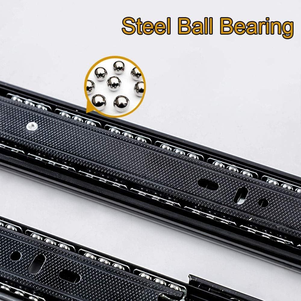 Black Ball Bearing Sliding Drawer Slides, 1pairs 3-section Full Extension Side Mount Drawer Runner Slide,8,10,12,14,16,18,20 and 22 Lengths