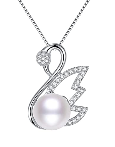 b7b50225a3d9 Buy Arco Iris Jewelry Sterling Silver Swan with Cubic Zirconia and Shell Pearl  Pendant Necklace for Wo Online at Low Prices in India