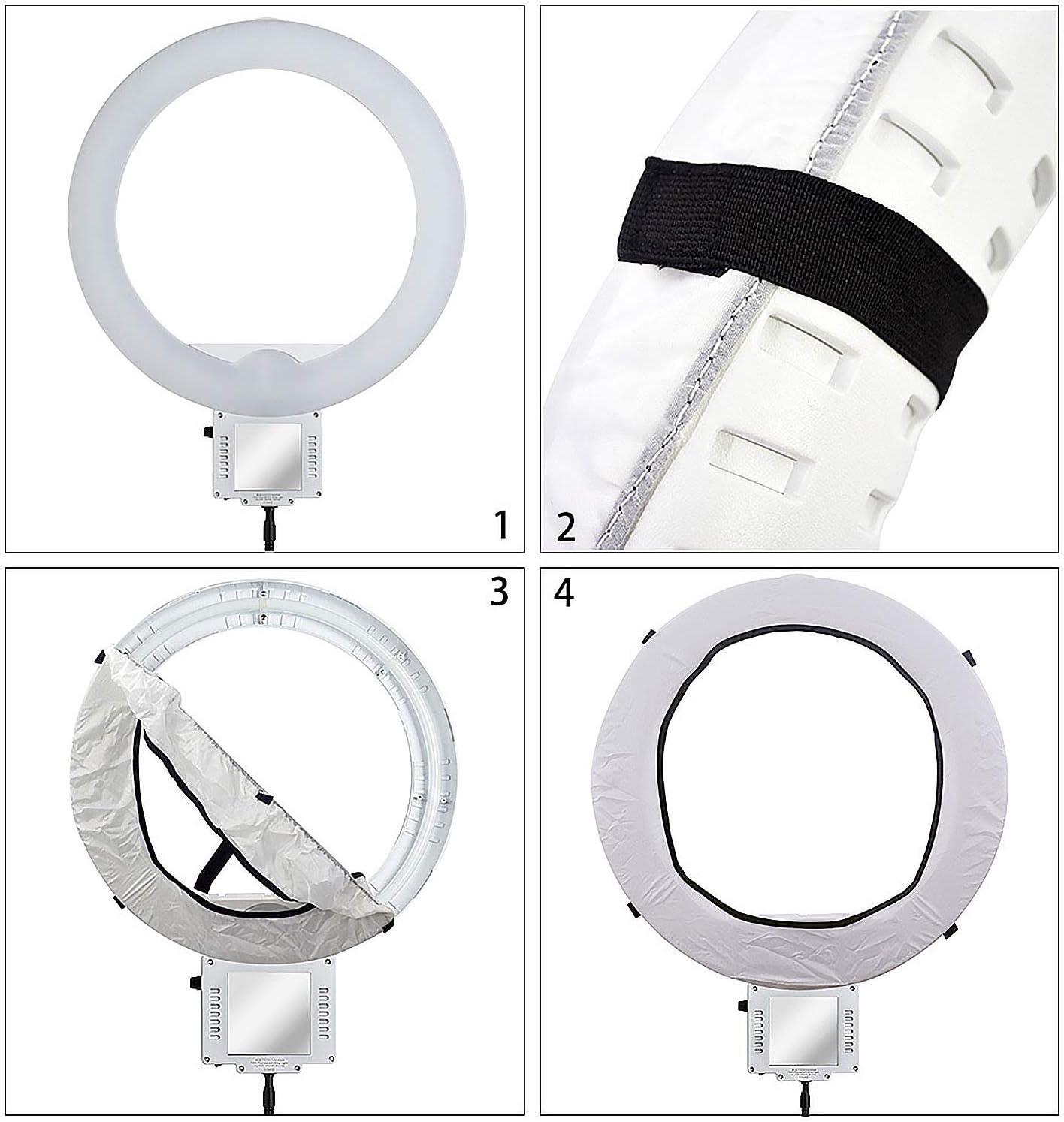 Vococal Kit de Tissu de diffuseur Pliable Portable Softbox pour 12inch Ring Light Ringlight Beaut/é Portrait Fill Light Photographie du Produit