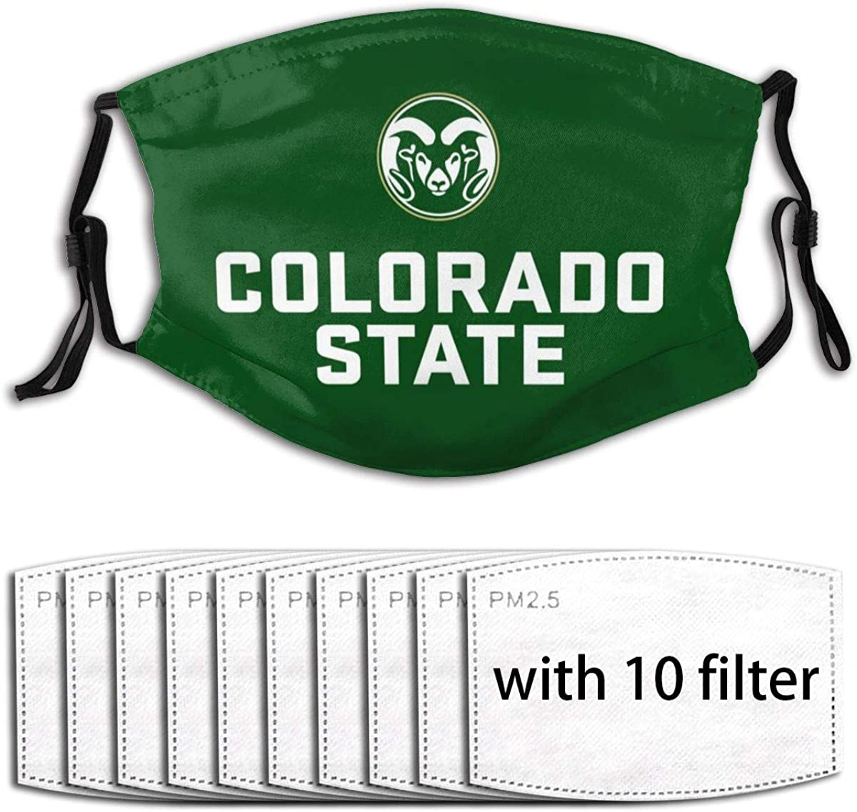 Lasgo Waterproof Face Cover Removable Mouth Cover for Colorado State University Fans Women Men with 10 Filter