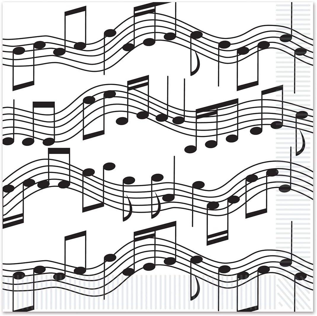 2-ply Musical Notes Beverage Napkins - 12 Pack (16/pkg) Black White Modern Contemporary Square Organic