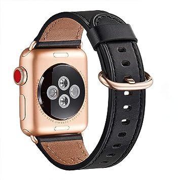 WFEAGL Correa para Correa Apple Watch 42mm 44mm 38mm 40mm, Correa de Repuesto de Cuero Multicolor para iWatch Serie 5/4/3/2/1(42mm 44mm,Negro/Oro Rosa): Amazon.es: Electrónica