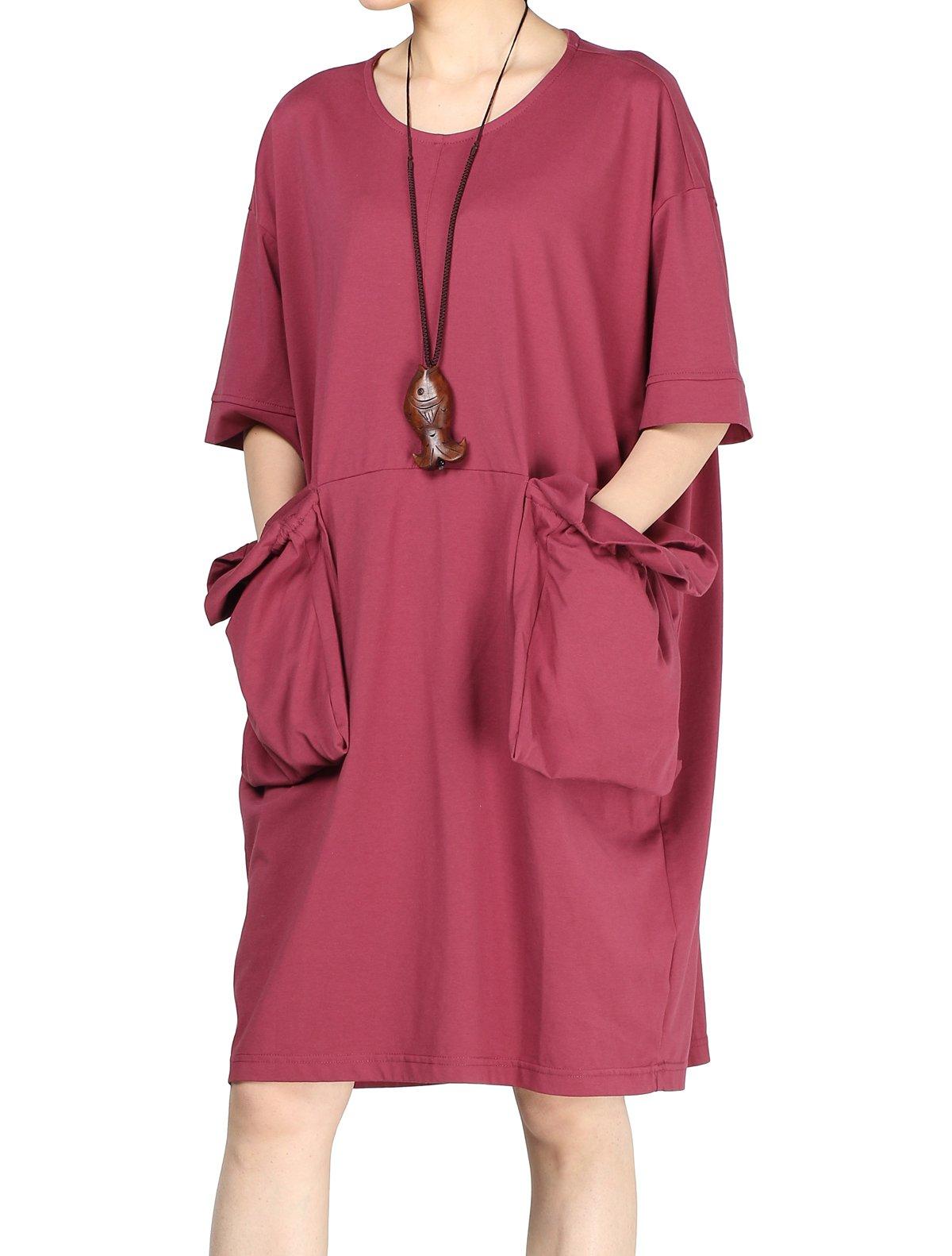 Mordenmiss Women's Plus Size Hoodies Long Sweatshirt Kaftan Dress with Single Pocket Style 3 XL Red