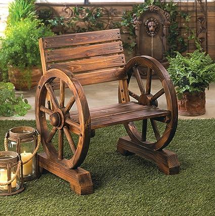 Amazoncom Rustic Wood Wooden Wagon Wheel Outdoor Garden Patio