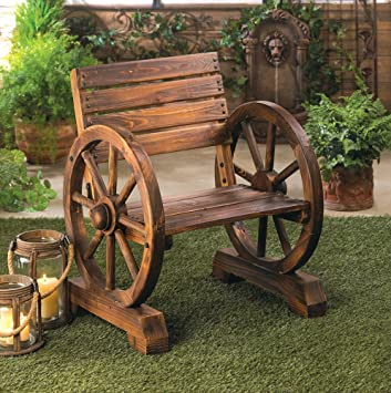 Rustic Wood Wooden Wagon Wheel Outdoor Garden Patio Furniture Chair Country  Yard