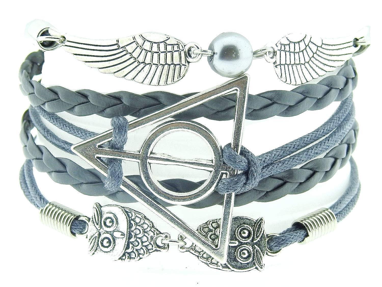 Tress/é Triangle Gris Vif dor Bracelet Les Reliques de la Mort Sorcier Harry Femme Homme Unisexe Bracelet Hibou-Ali
