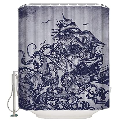 Amazon CHARMHOME Sail Boat Waves And Octopus Shower Curtain