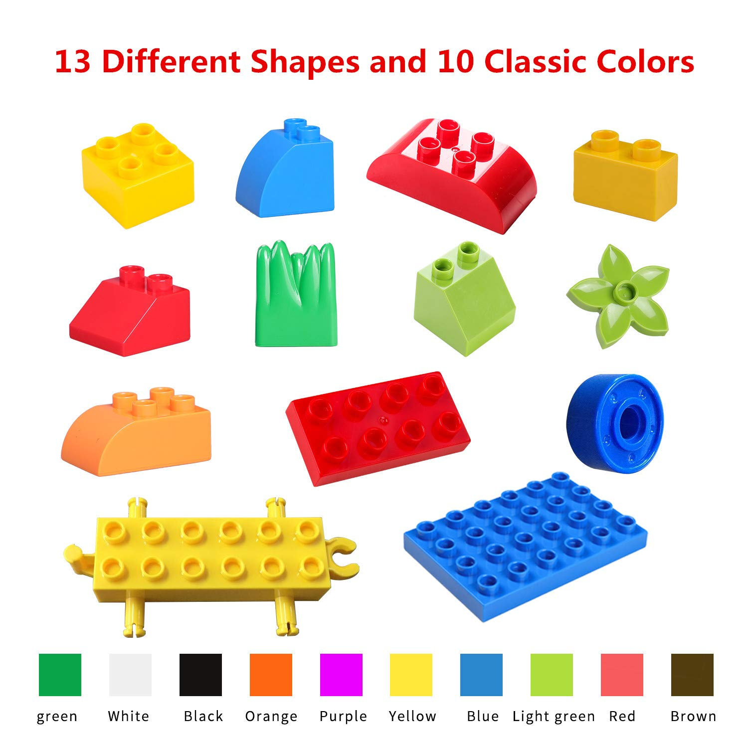 burgkidz Big Building Block Sets - 214 Pieces Toddler Educational Toy Classic Large Sizes Building Blocks Bricks - 13 Fun Shapes and Storage Bucket - Compatible with All Major Brands by burgkidz (Image #3)