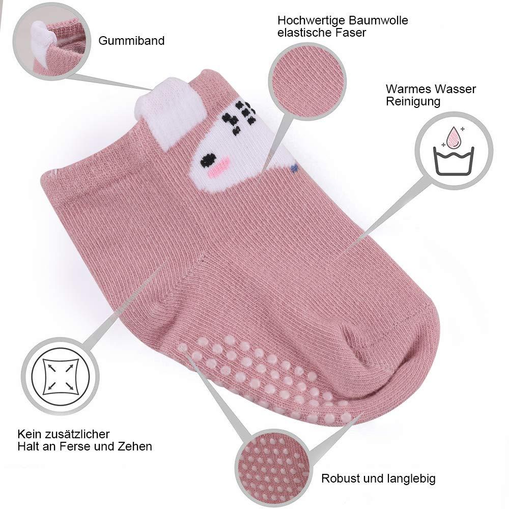 Lictin Babysocken 12 Paare Baby Antirutsch Socken Winter Baby ABS Antirutsch Socken Baby Socken f/ür Baby M/ädchen 0-12 Monaten