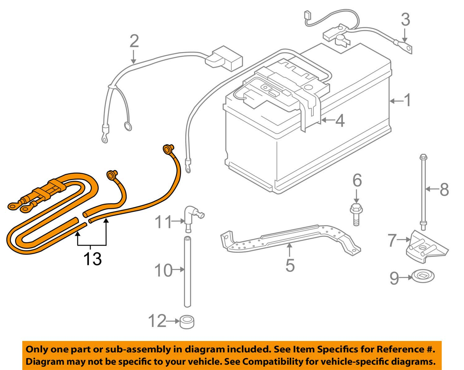 GENUINE BMW Battery Cable - Positive - Dual Cable from Positive Battery Leads 61129125036