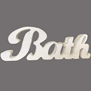 TAIANLE.Primitives Rustic Wood Bath Words Sign Free Standing,Cutout Letter Bath Sign,Bathroom/Home Wall/Door Decoration Art,White Color