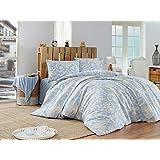 EnLora Home Double Quilt Cover Set, Blue/Cream, 200 x 200 cm, 162ELR88422, 3 Pieces
