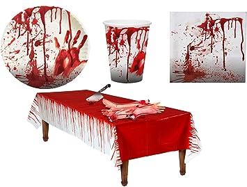 Karneval Klamotten Blutiges Tischdeko Party Set Xl Halloween Horror