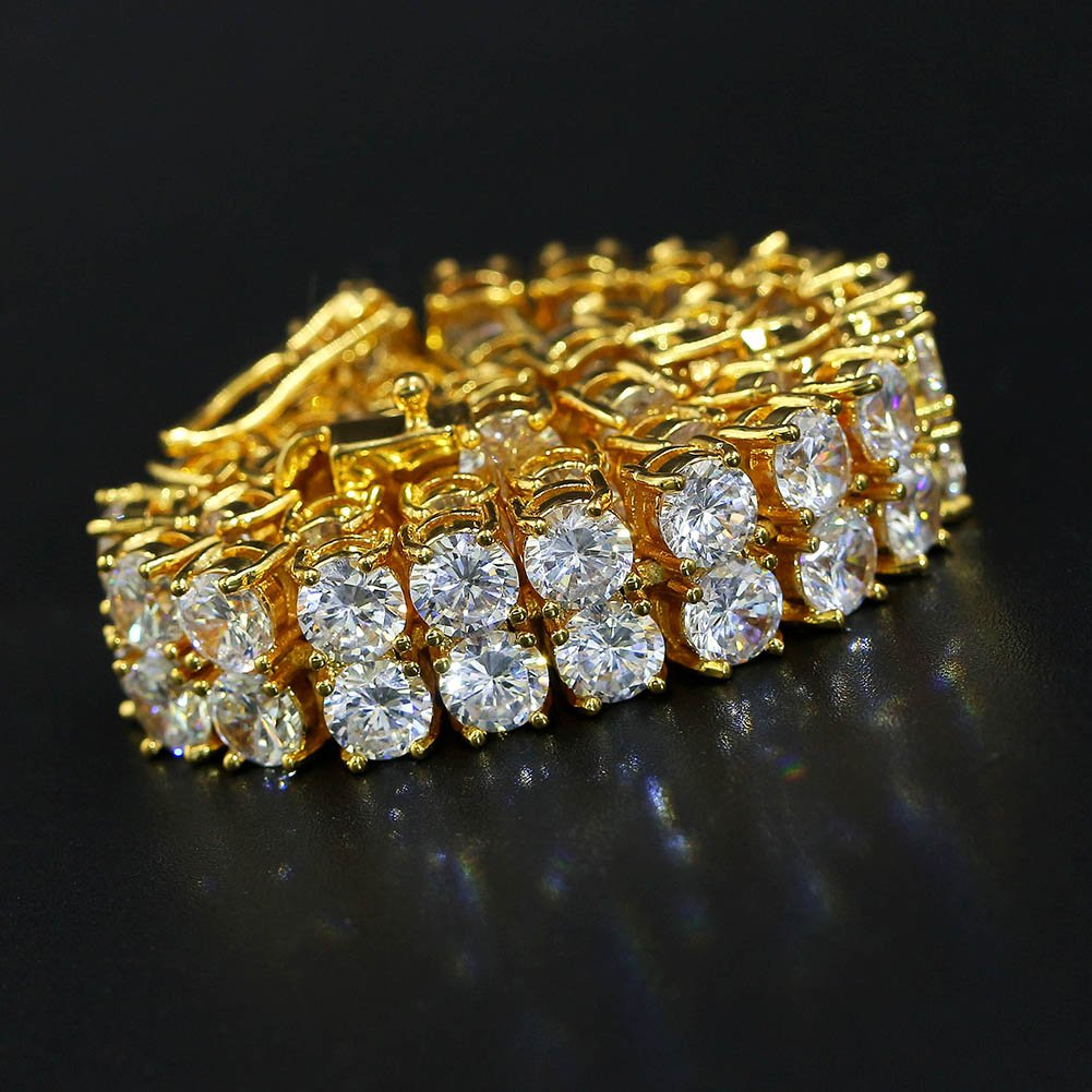 """JINAO 2 Rows AAA Gold Silver Iced Out Tennis Bling Lab Simulated Diamond Bracelet 8"""" (7'' Gold) by Jin'ao (Image #6)"""
