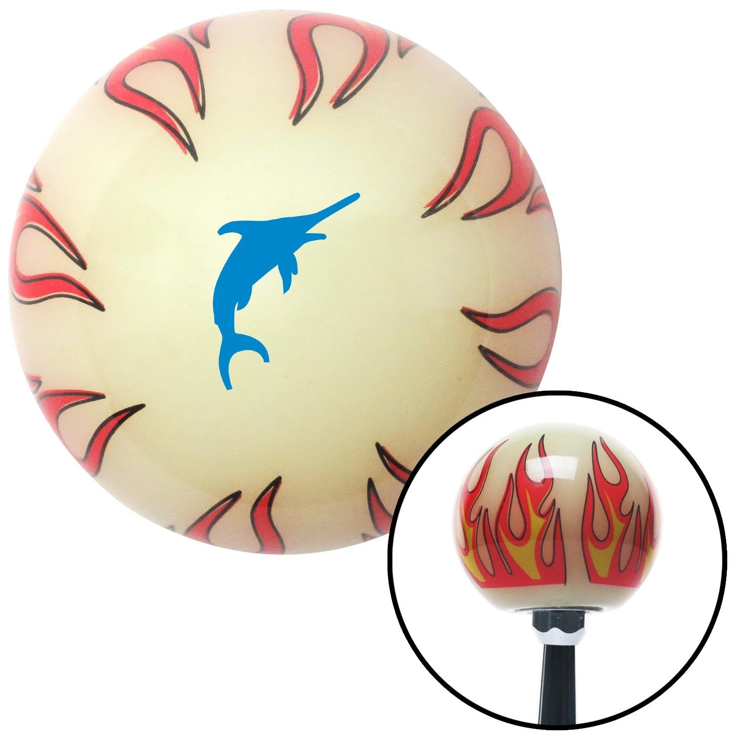 American Shifter 292765 Shift Knob Blue Marlin Ivory Flame with M16 x 1.5 Insert