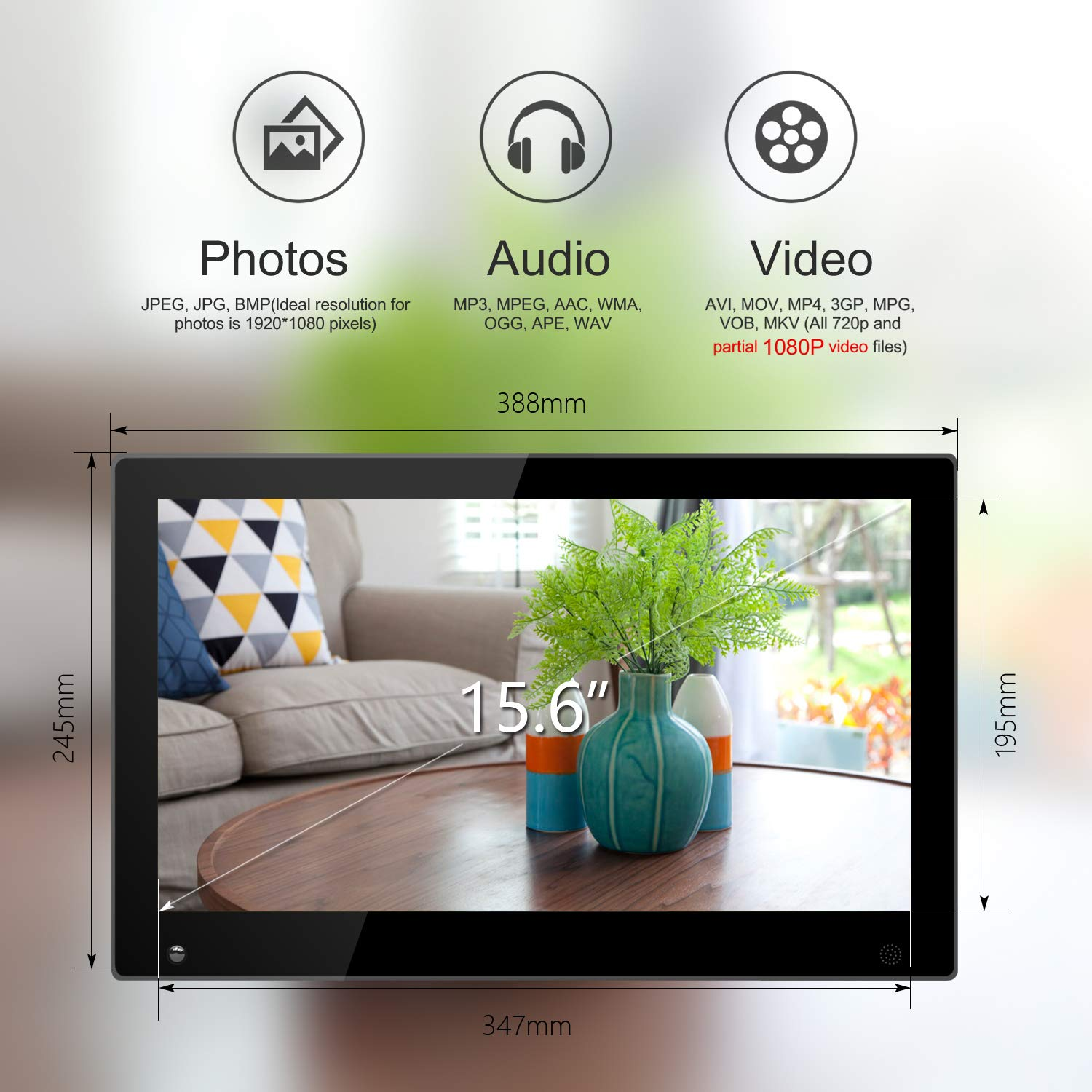 15.6 Inch Large Digital Picture Frame with Hu Motion Sensor LCD Advertising Player with 1080P LCD AV HDMI Input VESA Full IPS Remote by SSA (Image #5)