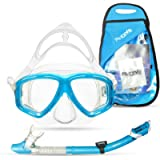 PRODIVE Premium Dry Top Snorkel Set - Impact Resistant Tempered Glass Diving Mask, Watertight and Anti-Fog Lens for Best…