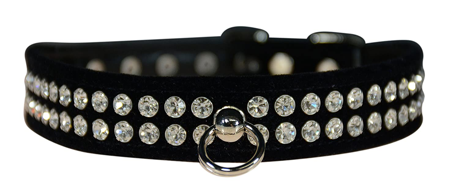 Evans Collars 3 4  Shaped Collar with Crystal Jewels, Size 12, Velvet, Black