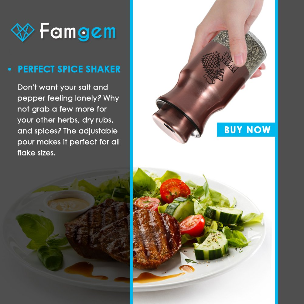 Salt and Pepper Shakers Famgem - GOT Stainless Steel Set with 3 Adjustable Pours by Famgem (Image #6)