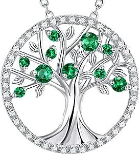 Collar con piedra de nacimiento del árbol de la vida y